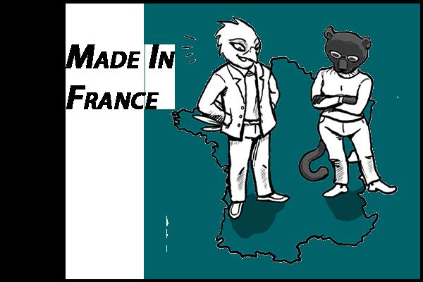 Made In France - Elodie Morcet et Audran Pelletier représentés dans leurs personnages respectifs de panthère noire et d'aigle sur une carte de France